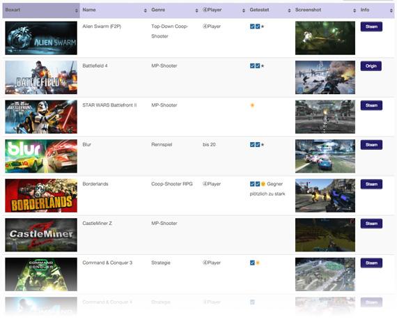 LAN Games Liste